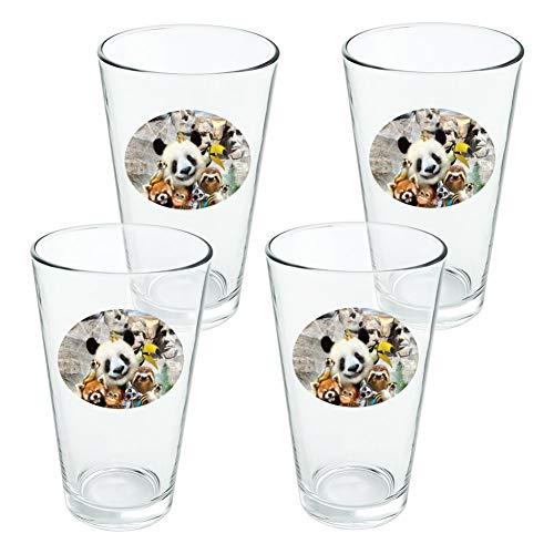 Plat MT. Rushmore National Memorial du Dakota du Sud Panda paresseux fantaisie 453,6 gram Pinte à boire en verre trempé - Lot de 4