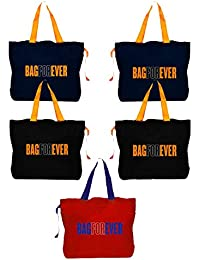 Bagforever Shopping Bag Reusable Grocery Bag Foldable Polyster Tote Long Handle Washable Large Size Heavy Duty... - B07GCKP6JC