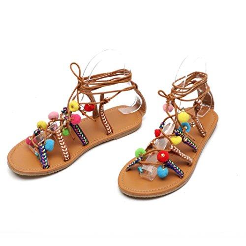 8606bf8d482f9 Lolittas Talons Hauts ✿☀Sandales Plates Bohemian Wind pour Femme✿☀Lolittas  Marron Femmes BohêMe Sandales Gladiator en Cuir Appartements Chaussures ...