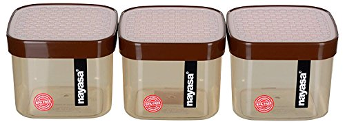 Nayasa Superplast Plastic Fusion Containers 750ml, Set of 3, Brown