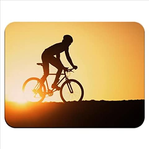 Silhouette of Man Riding Mountain Bike at Sunset Premium Quality Thick Rubber Mouse Mat Pad Soft Comfort Feel