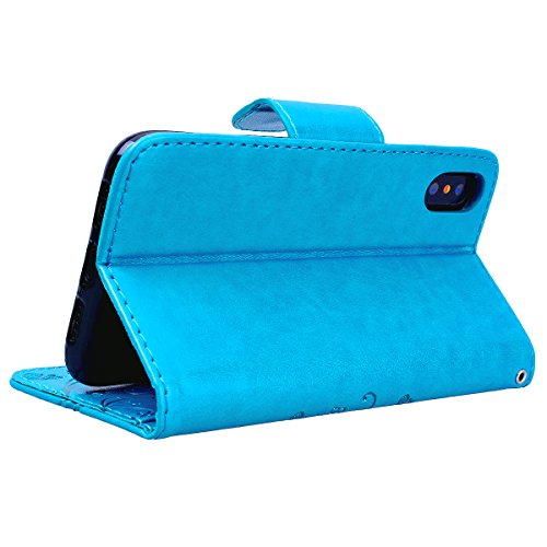 SMART LEGEND iPhone X Hülle Ledertasche Drucken Weinstock Schmetterling Muster Lederhülle Kartenfach Schutzhülle Premium PU Leder Handyhülle mit Handschlaufe Flip Wallet Case Protective Cover Innere W Blau