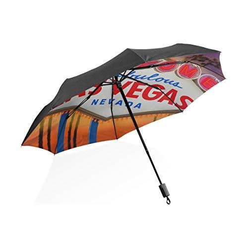 Reiseregenschirm Las Vegas Sign und Palme mit Sonnenuntergang Tragbarer kompakter Taschenschirm Anti-UV-Schutz Winddicht Outdoor-Reisen Frauen Schwarz Regenschirm -