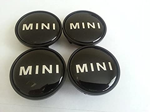 4neue * 54mm schwarz Mini Legierung Radkappen, Buttons Embleme