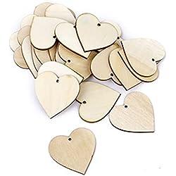 OULII 40mm en blanco corazón madera rodajas discos para BRICOLAJE manualidades adornos para el día de San Valentín regalo DIY, paquete de 100 (Color madera)