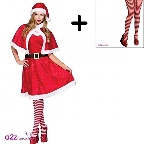 Erwachsene Dress Fancy Kostüm Miss Little Für - Mrs Santa Claus + Tights Ladies Fancy Dress Christmas Xmas Womens Adults Costume UK 10-14 by Mega Fancy Dress