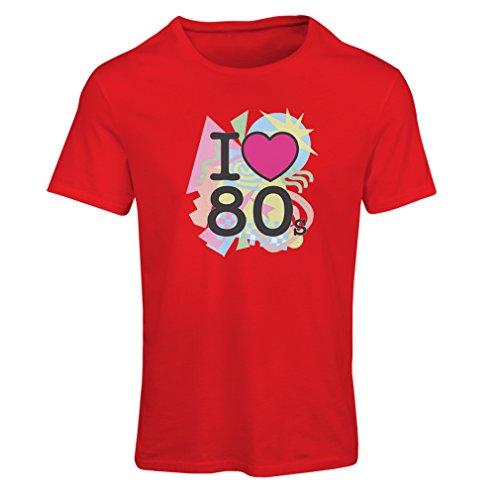 Frauen T-Shirt Ich liebe 80er Konzert t-shirts Weinlese Kleidungs Musik t-shirts geschenke (Small Rot Mehrfarben) (Abenteuer Fitted T-shirt)