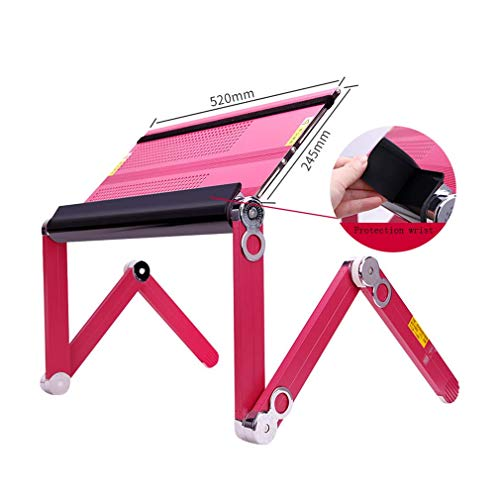 MU Haushalts-Klapptisch Multifunktions-Computertisch Flat Lay Laptop-Ständer Bett Lazy Desk,Rosa (Lay Flat Notebook)