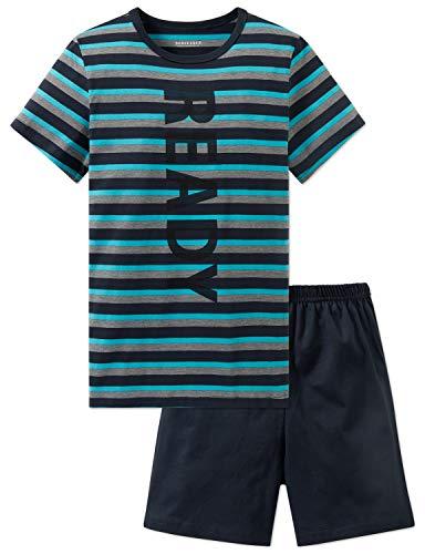 Schiesser Jungen Anzug kurz Zweiteiliger Schlafanzug, Grau (Graphit 207), 140 (Herstellergröße: XS)