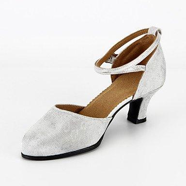 XIAMUO Anpassbare Damen Tanz Schuhe Moderne funkelnden Glitter angepasste  Heel lila/silber Lila