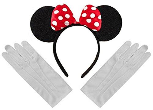 Schwarz Rot Weiß Tupfen Minnie Mouse Disney Kostüm Ohr-Stirnband und Handschuhe Menge