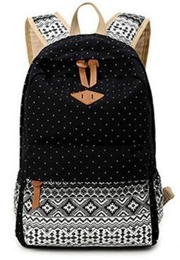 Imagen de icase4u® 2015 multi función moda  bolsa escolar tipo casual bonita de lona de viaje  de marcha para picnic para mujer o chica buena calidad polka dot negro