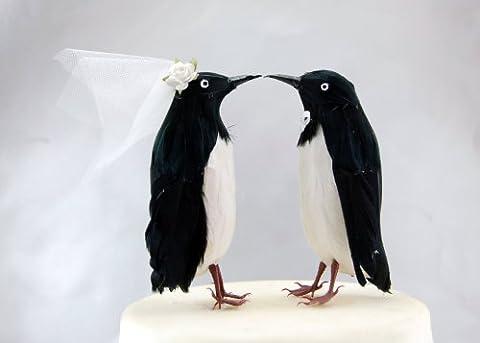 Adelie Penguin Cake Topper: Bride and Groom Love Birds Wedding Topper in Black and White by Becky Kazana