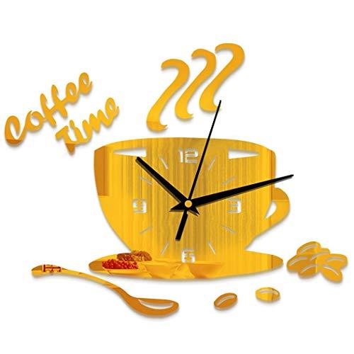 Sioneit Wohnkultur Uhr Wanduhren Stumm Wasserdicht Kreative DIY Acryl Spiegel Wandaufkleber Quarzuhr Startseite Dekorative Uhr Kaffeetasse Form für Küche, Wohnzimmer, Kinderzimmer, Kaffee Dekor - Form Kaffee