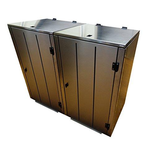 Mülltonnenbox Edelstahl, Modell Eleganza Line5, 120 Liter als Zweierbox - 3