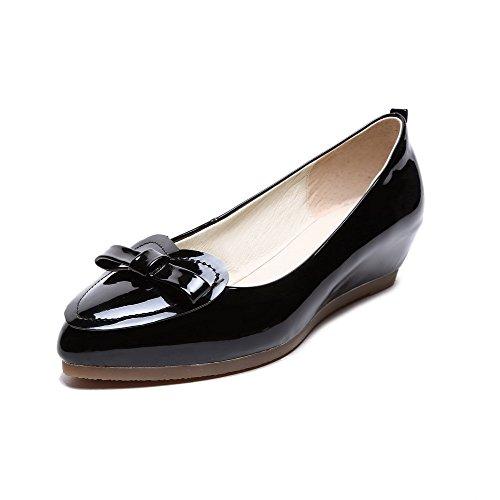 VogueZone009 Femme Tire Verni Pointu à Talon Bas Couleur Unie Chaussures Légeres Noir