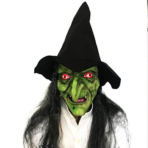 Julyfun Latex Hexe Maske mit schwarzen Haaren