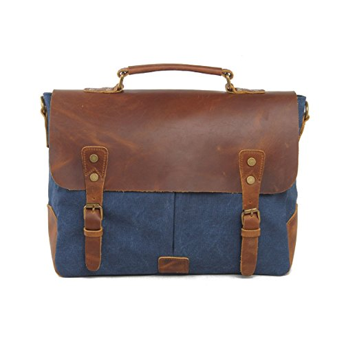 VRIKOO Vintage Genuine Leather Military Canvas 14 Laptop Briefcase Messenger Bag (Coral Green) Blu profondo