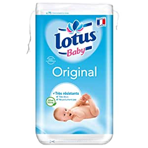 Lotus Baby Original Cotons Carres Bb Bi-Faces x 75 Lot de 4