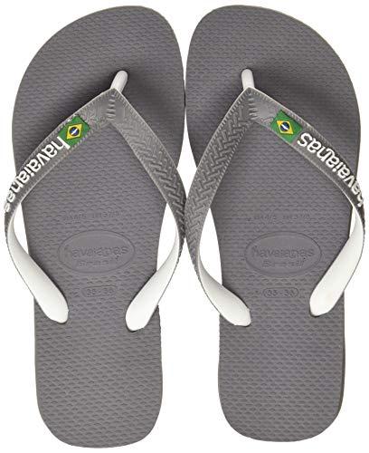 Havaianas Unisex- Brasil Mix Zehentrenner, Mehrfarbig (Steel Grey/White/White), 47/48 EU (45/46 BR) - Havaianas Design