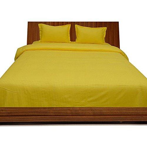 Super weiches Single Ply 650 Fadenzahl, ägyptische Baumwolle, 650 TC Bettlaken oder Oberseite mit Extra Kissenbezug), Gelb, 100% Baumwolle, gestreift, Italienisches Design -
