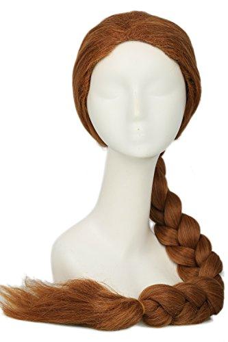 Pandacos parrucca shrek princess fiona cosplay lunga coda di cavallo intrecciata treccia marrone accessorio costume halloween carnevale festa per donna adulti taglia unica
