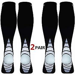 Calcetines/Medias de compresión para Hombres y Mujeres, (2 Pares) Mejor circulación sanguínea, prevenir los coágulos sanguíneos, acelerar la recuperación Best Graduated Athletic Fit para Correr