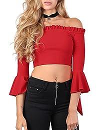 PILOT® Women's Plain Bardot Frill Sleeve Crop Top in Red