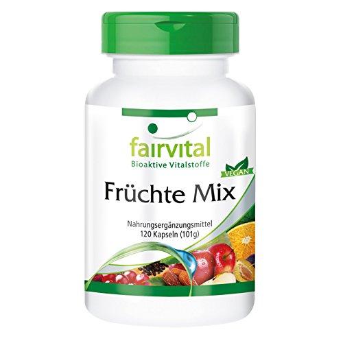 Früchte Mix - für 1 Monat - VEGAN - HOCHDOSIERT - 120 Kapseln - natürliches Obst-Pulver