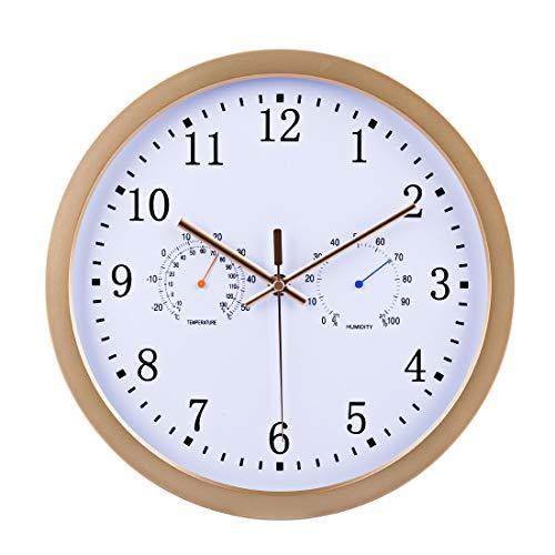 Funkuhr Wanduhr Lautlos, Batop Radio Funkwanduhr mit Thermometer und Hygrometer, Modern Funkuhr Geräuschlos Wanduhr, 30 cm / 12 Zoll