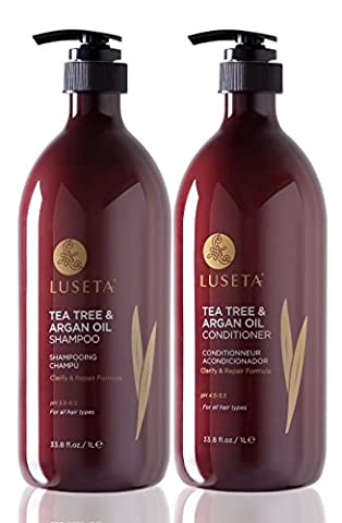 Luseta Tea Tree & Argan Oil Shampoo & Conditioner Set 2x1000ml Cleanse and Remove Impurity Color Safe Sulfate free Phosphate free Paraben