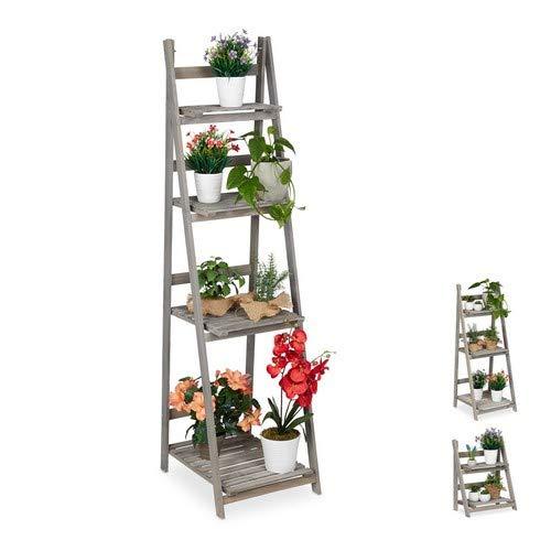 Relaxdays Blumentreppe, 4-stufig, Blumenleiter Holz, klappbar, Leiterregal für Pflanzen, HBT: 160 x 41 x 50 cm, grau