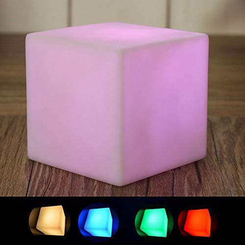 ZCHPDD Bar Cube Hocker Klar Bar Restaurant Tischlampe 7 Led Würfel, Können Bunte Stimmung Lichter Innendekoration Nachtlicht Sieben Farben 10 cm (USB Remote Lade)