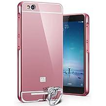 Prevoa ® 丨 Xiaomi Redmi 3 Funda - Metal Frame Funda Cover Case Protictive Carcasa para Xiaomi Redmi 3 4100 mAh 4G LTE 5,0 pulgadas Smartphone - Rosa