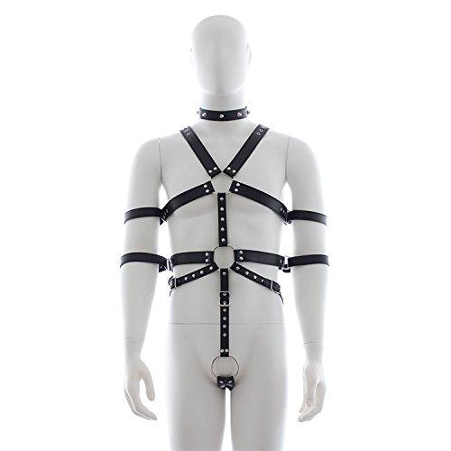 OnundOn Herren Riemenbody Leder Harness Männer String Unterwäsche Mit Penis Ring Fetisch Einstellbar - Herren-leder-ring Thong