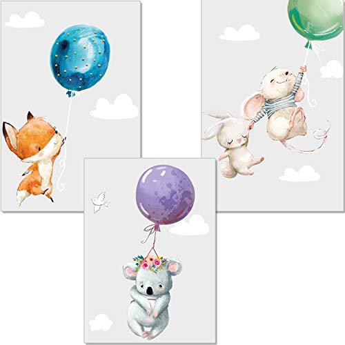 ter Kinderzimmer Deko - Bilder Babyzimmer DIN A4 - Wandbilder Mädchen Junge - Kinderposter Hase Maus Fuchs Luftballons Wolken (P45) ()