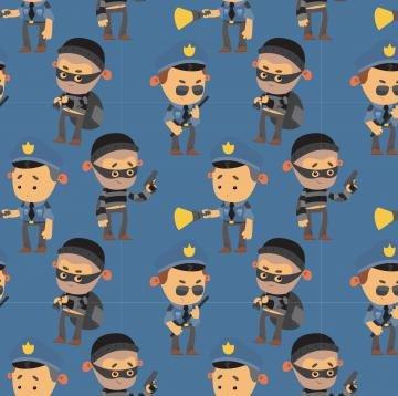 Gauner 2 - Blau - Jersey Meterware - 150 cm (Kostüm Diy Polizei)