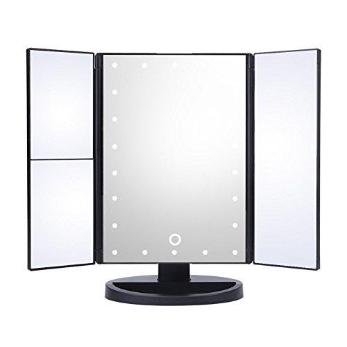 HURRISE Espejo Maquillaje con luz de 3 vías LED Iluminado Maquillaje Espejo de Aumento Espejos de Belleza rectángulo de Tres Hojas con 22 Luces 3X y 2X de Aumento (luz Blanca)