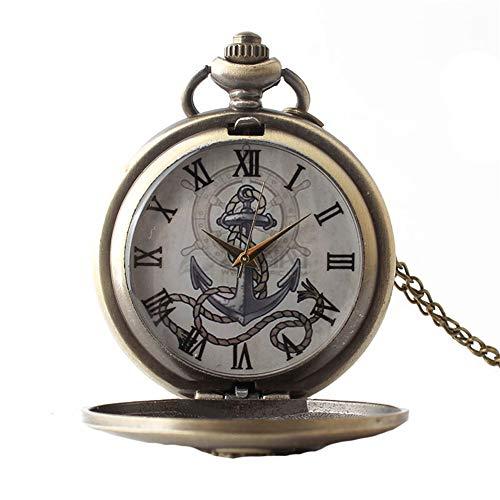 Aruie Taschenuhr, Anker, Marineblau, Relief, Blumenmuster, römische Zahlen, Quarz, Vintage, bronzefarben, Halskette für Herren und Damen