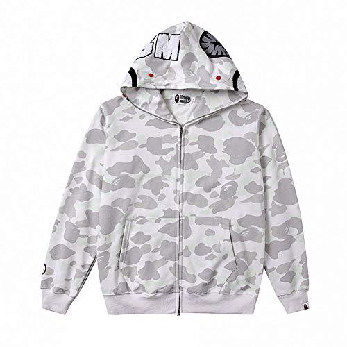 yur67 Bape Camouflage Grey Cardigan Zipper Hooded Jacket New Sweater Hoodie for Men/Women -