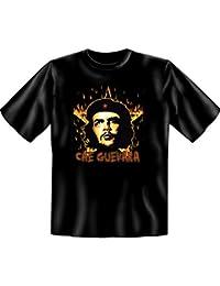 Revoluzzer T-Shirt Ernesto Che Guevara mit Flammenstern in schwarz
