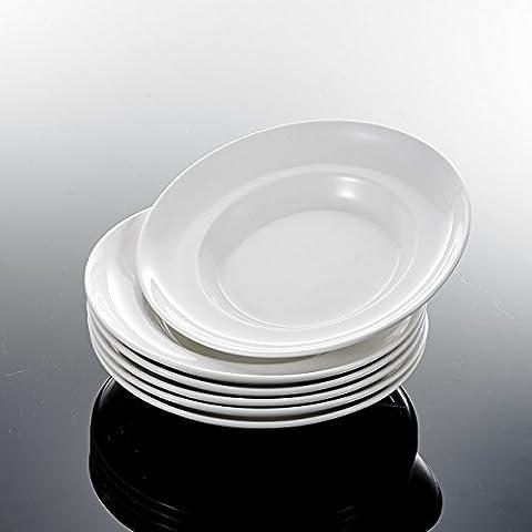 Malacasa Série Regular, Lot de 6 Porcelaine Assiettes Creuse Assiette à Soupe Pâte Plat Carré Service de Table Vaisselles