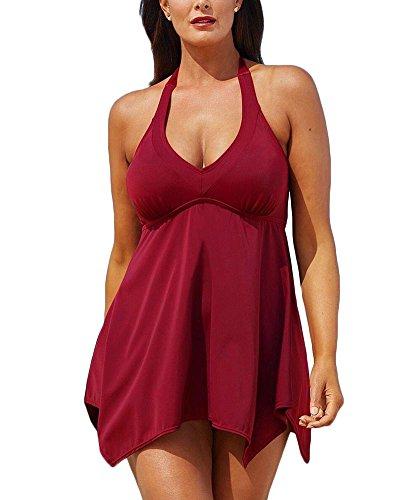 Donne Plus Size Tinta unita Halter Push Up Bikini Set Costume Da Bagno Orlo irregolare Vita alta costume da bagno abito Bodeaux