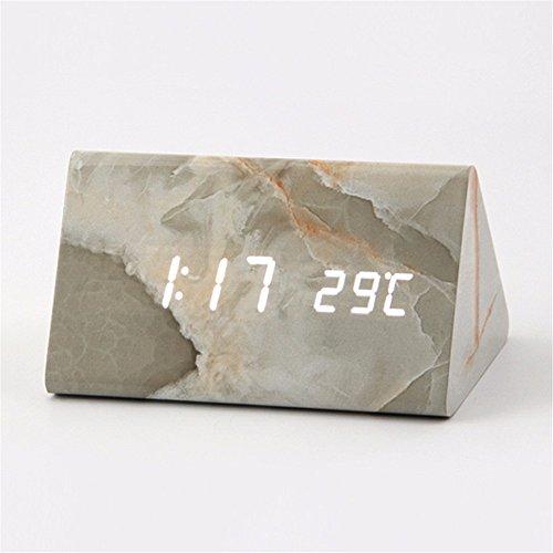 Elektronische Zeitplan (FLYRCX Sound Control Holz kreativ elektronische Uhr Marmor Wecker Led, S)