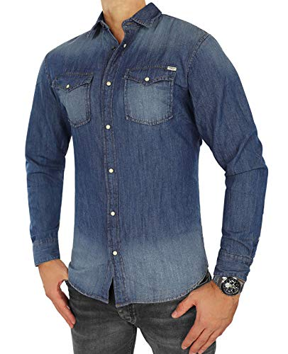 JACK & JONES Herren Jeanshemd Jjesheridan Shirt L/S (L, Blau (Dark Blue Denim Fit: Slim))