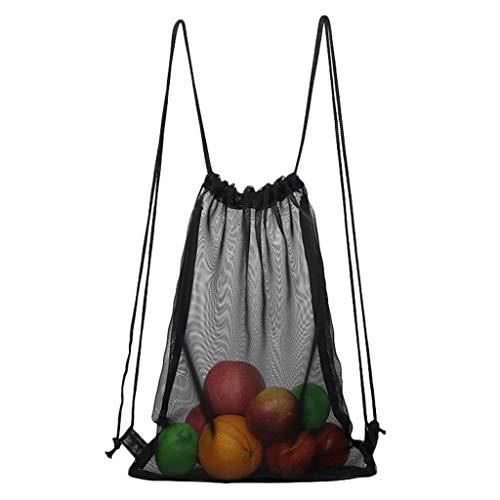 jfhrfged Unisex Transparent Fashion Rucksack Rope Beach Bag Transparente Tasche Basketball Bag (Schwarz)