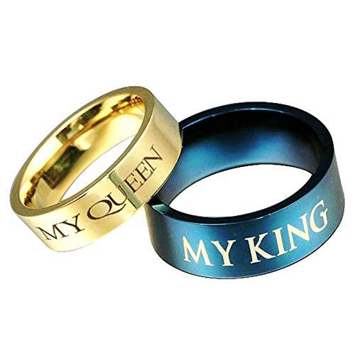 Coniea Ringe für Herren Edelstahl Gravur My Queen und My King Damen Gr.62 (19.7) und Herren Gr.54 ()