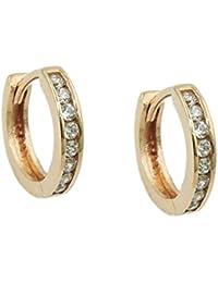 18a1f38e811a Pendientes de aro 11 x 2 mm Pendientes con circonitas estrecho 375 oro  amarillo