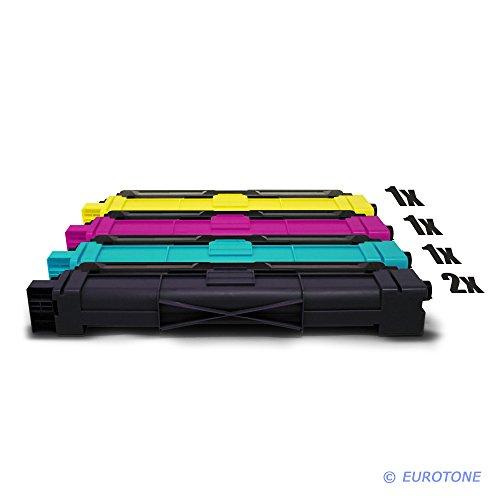 5er Set Eurotone Kompatible Toner XXL für Brother MFC-9142 MFC-9332 MFC-9342 ersetzt TN-242BK TN-246C TN-246Y TN-246M im Sparpack - 2X schwarz -