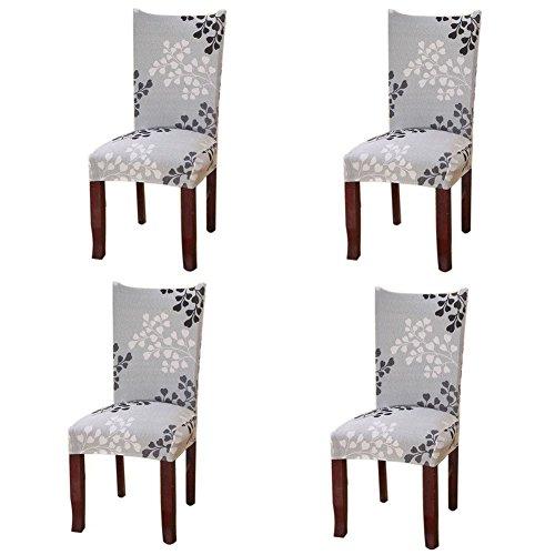 Fuloon 4er Set Stuhlüberzug Universell Stretch Stuhlhussen Abnehmbare Stuhlbezug Protector Cover (4er Set, A)
